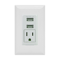 GE 2 USB | 1 AC In-Wall Charging Receptacle